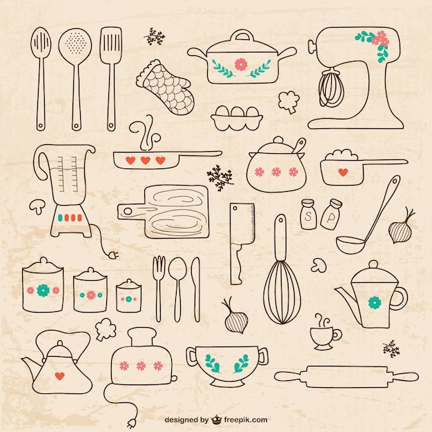 Kitchen Utensils Drawings Free Vector