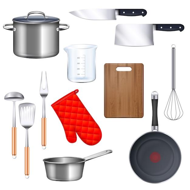 Кухонная утварь иконы с кастрюлю сковородку и нож реалистично изолированных Бесплатные векторы