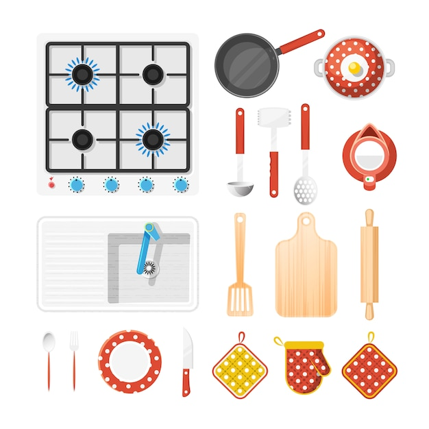 Kitchen utensils icons set Free Vector
