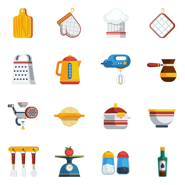 Kitchen utensils icons set Free Vector