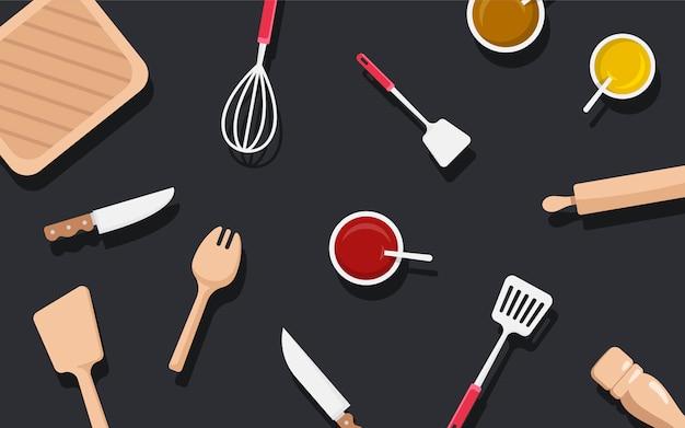 Insieme di vettore degli utensili e degli ingredienti della cucina Vettore gratuito