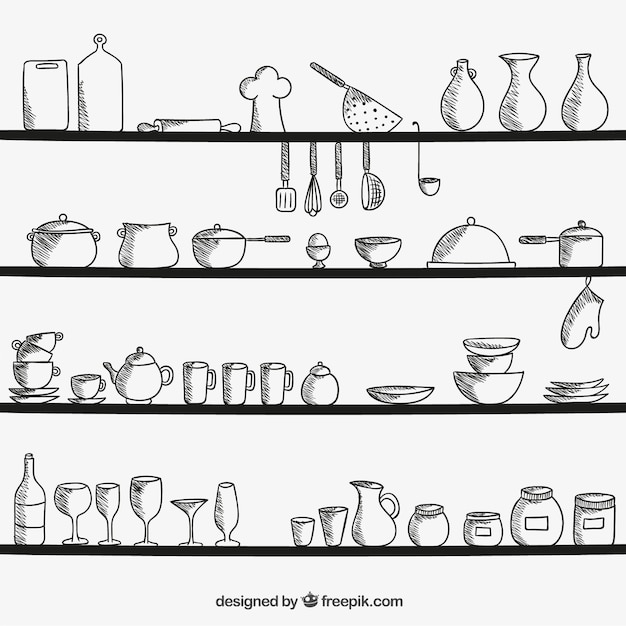 Kitchen Utensils Silhouette Vector Free