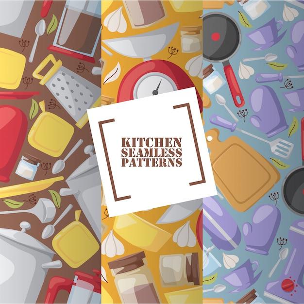 Kitchen utensils in seamless pattern cooking accessories Premium Vector
