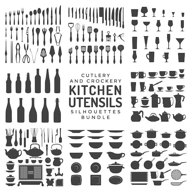 Kitchen utensils silhouettes bundle Premium Vector