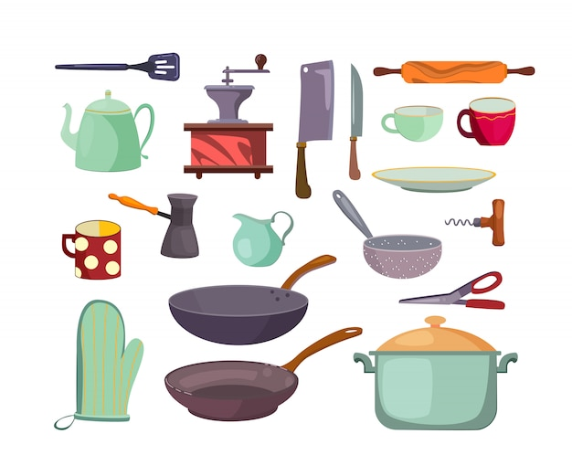 Kitchen utensils and tools flat icon set Free Vector
