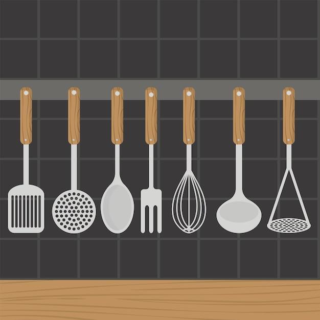 台所用品は、台所の壁に重さがある。 Premiumベクター