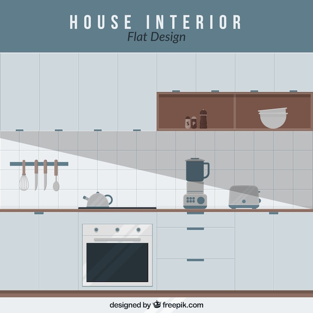 Interior Design For Kitchen For Flats: Kitchen With Electrical Appliances In Flat Design Vector