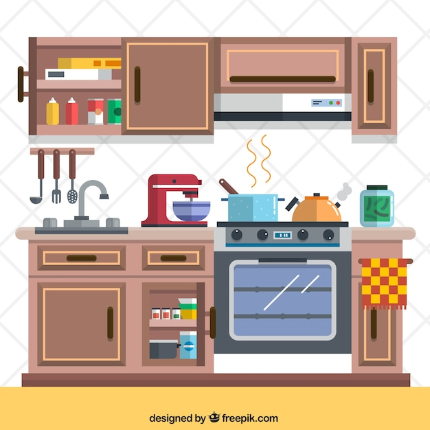 Kitchen Design Images Free: Kitchen With Elements Vector