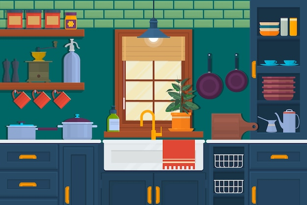 Kitchen With Furniture. Cozy Room Interior With Table