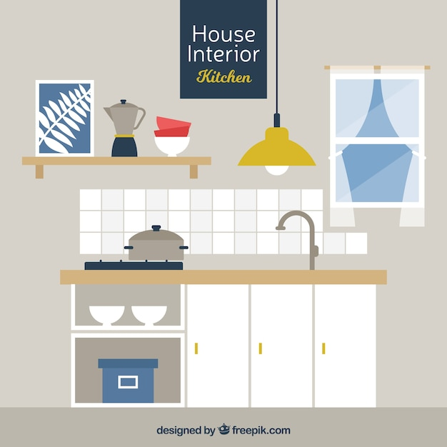 Kitchen with wooden furniture in flat design vector free for Kitchen design vector