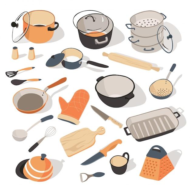 調理器具のキチネット用の台所用品と食器 Premiumベクター