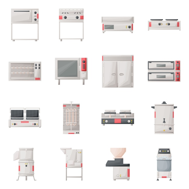 Kitchenware  cartoon icon set. isolated illustration oven, stove, refrigerator and other equipment for kitchen.icon set of professional kichenware. Premium Vector