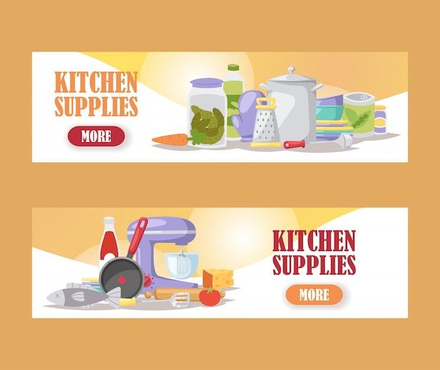 Kitchenware cooking supply store banners kitchen appliances and household utensils online shop Premium Vector