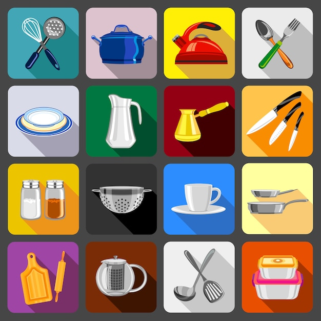 Kitchenware dishes icons set. Premium Vector