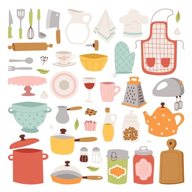 Kitchenware elements. Premium Vector