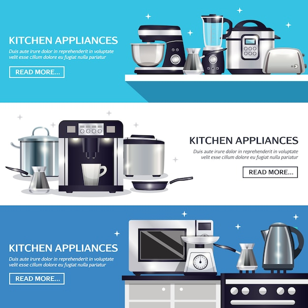 Kitchenware horizontal banners set Free Vector