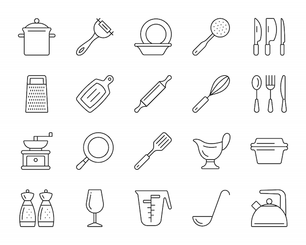 Kitchenware line icons set, cookware simple sign, dishware for food cooking. Premium Vector