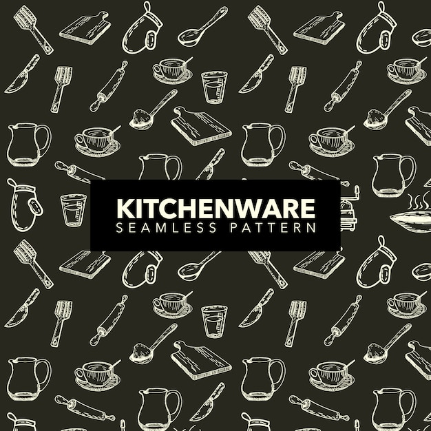 Kitchenware pattern background Free Vector