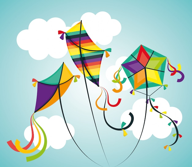 Kite and childhood design. Free Vector