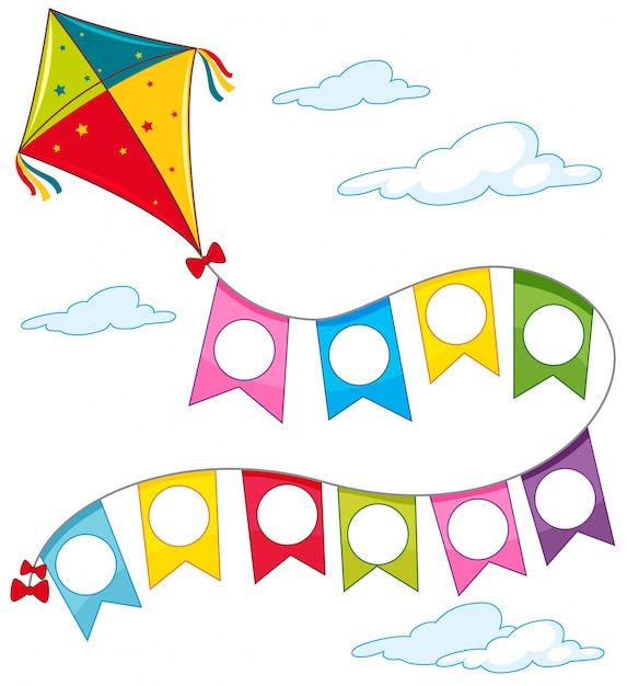 A kite on sky Free Vector