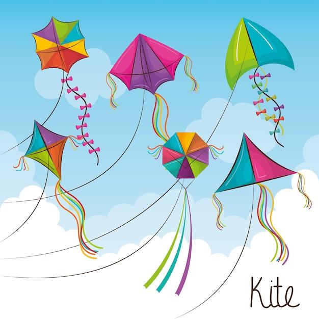Kite toy flying icon Premium Vector