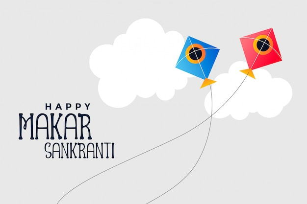 Kites flying in sky makar sankranti festival Free Vector