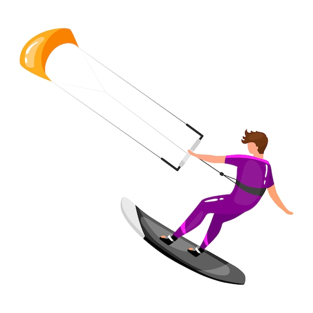 Kitesurfing flat illustration. extreme sports experience. active lifestyle. vacation outdoor activities. sportsman balancing on board with kite isolated cartoon character on white background Premium Vector