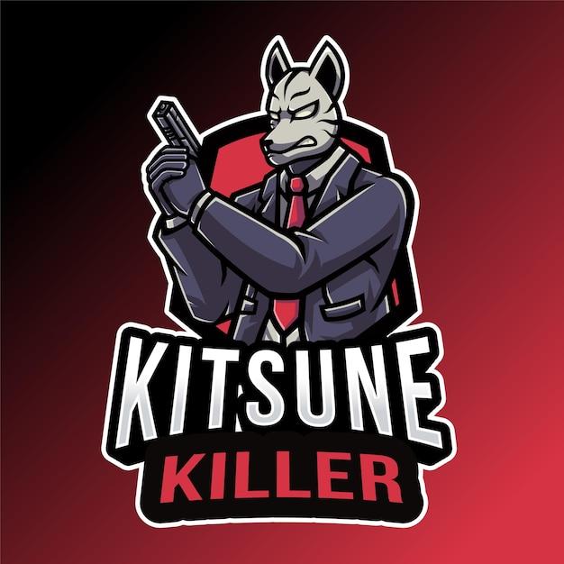 Kitsune 킬러 로고 템플릿 프리미엄 벡터