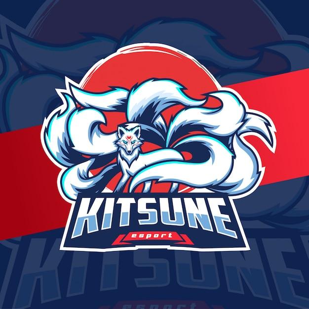 Kitsune mascot esport logo white fox with nine tails Premium Vector