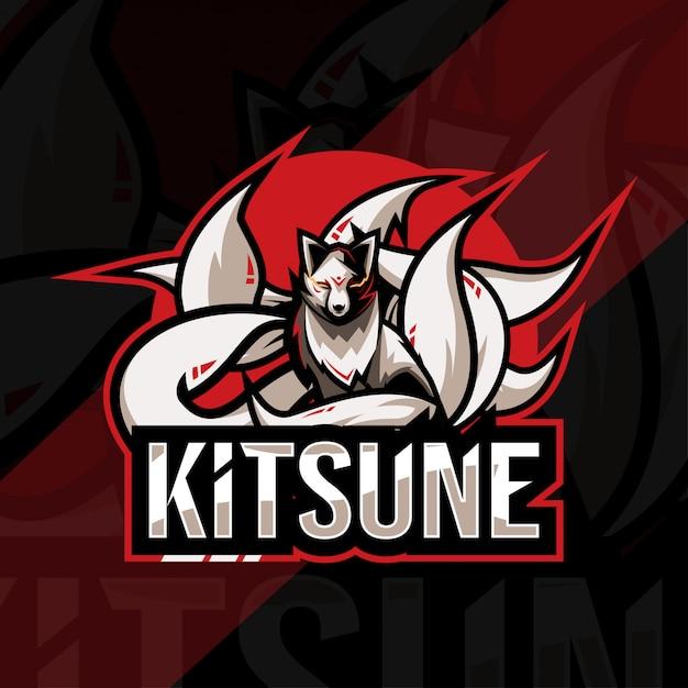 Кицунэ талисман логотип кибер дизайн шаблона Premium векторы