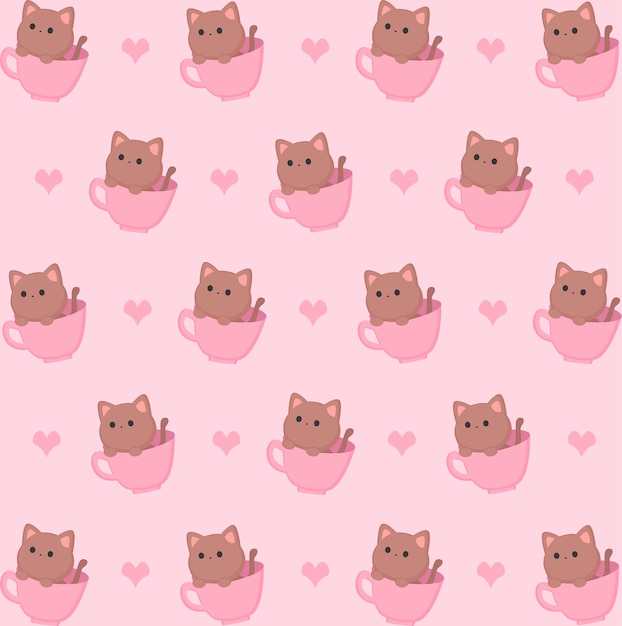 Kitten in cup pattern Premium Vector