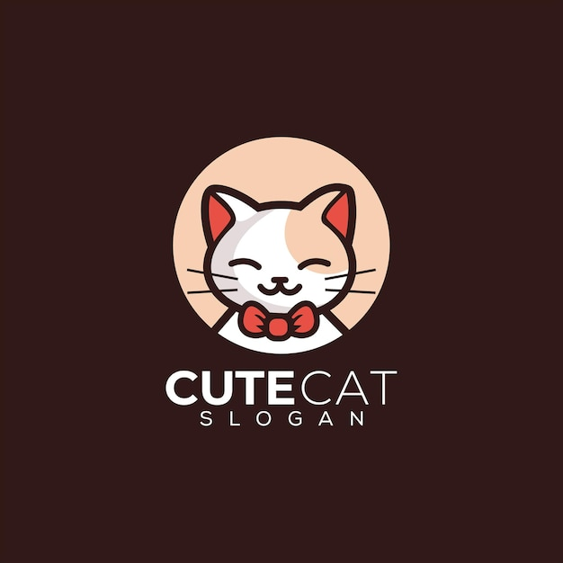 새끼 고양이 귀여운 고양이 로고 프리미엄 벡터