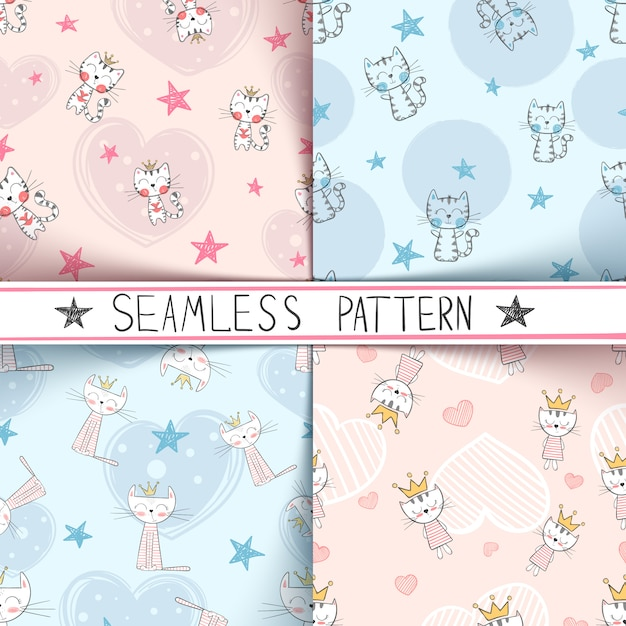 Kitty seamless pattern Premium Vector