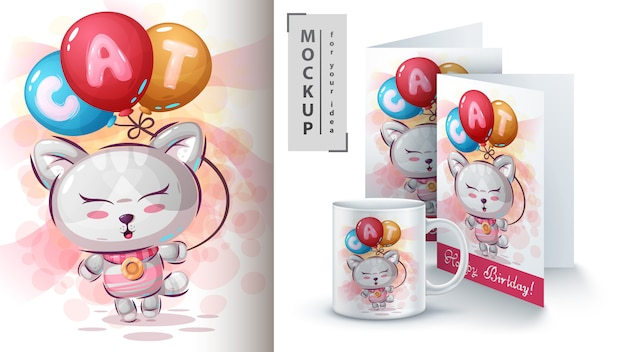 Kitty with air balloon poster and merchandising Premium Vector