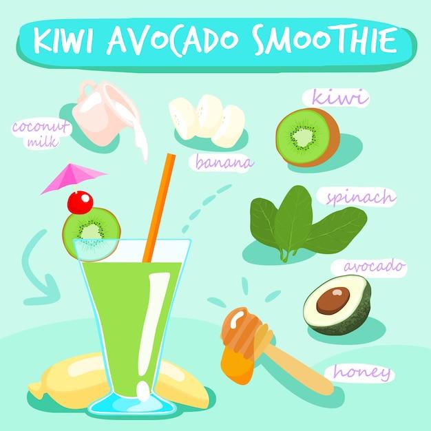 Kiwi avocado вкусные здоровые коктейли Premium векторы