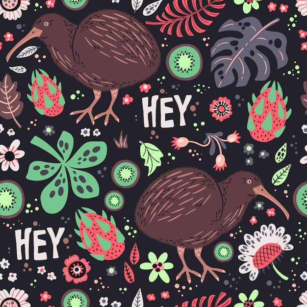 Kiwi bird with plants and flowers pattern Premium Vector