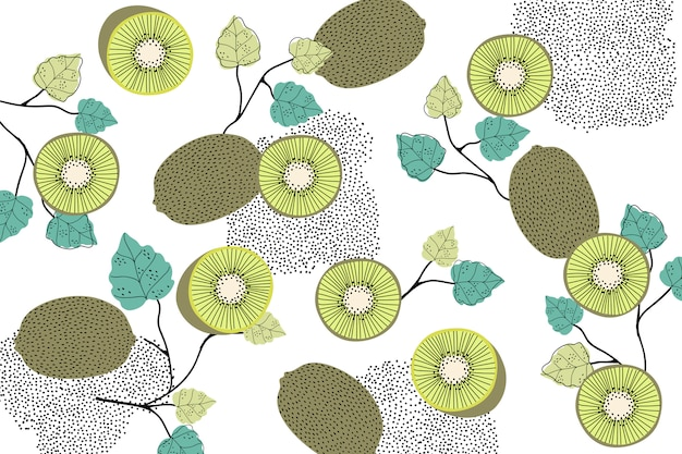 Kiwi patterned background Free Vector