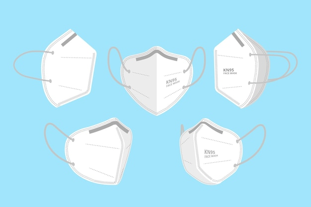 Kn95 face mask in different perspectives Premium Vector
