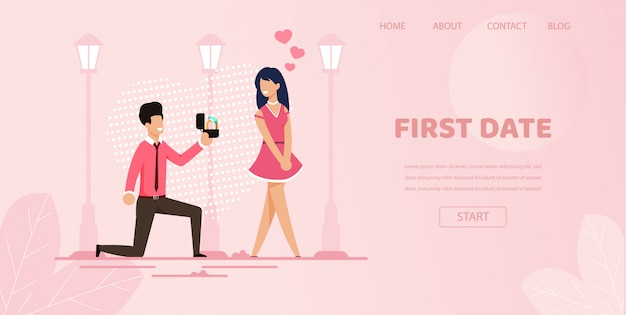 Knee boyfriend with ring make proposal girlfriend Premium Vector