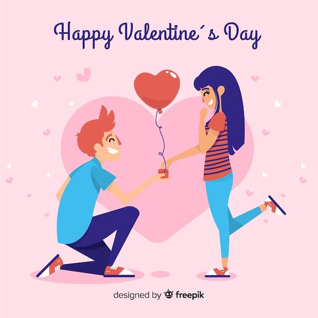 Kneel boy valentine's day background Free Vector