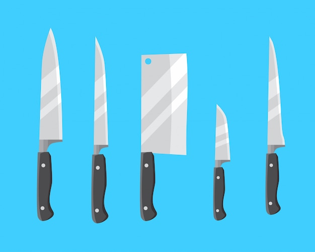 Knife set choppers Premium Vector