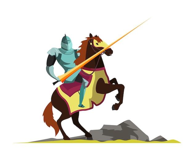 말을 타고 중세 토너먼트 장면을 공격하는 기사. 프리미엄 벡터