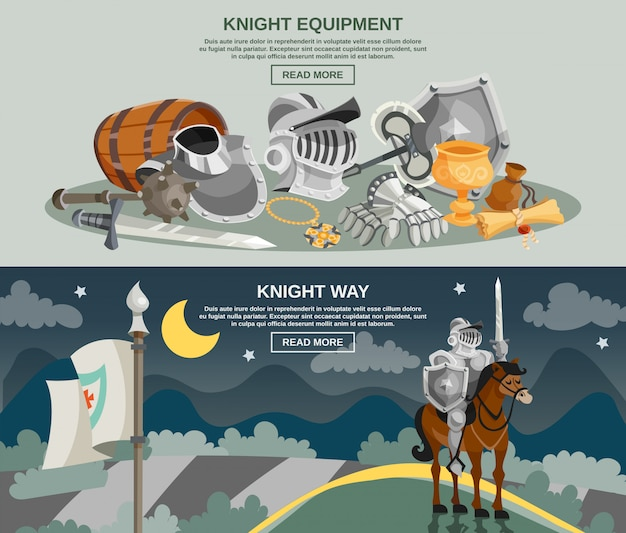 Knight Banner Set Free Vector