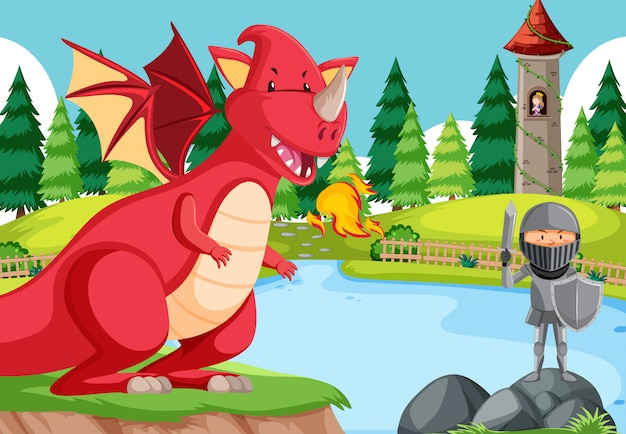 A knight battle with dragon Free Vector