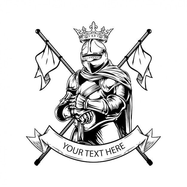 Premium Vector Knight Coat Of Arms Hand Drawing Illustration