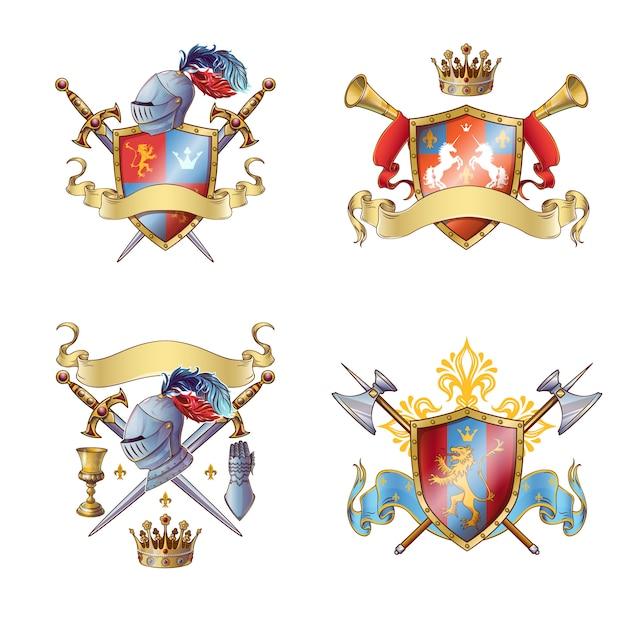 Рыцарь красочные эмблемы Бесплатные векторы
