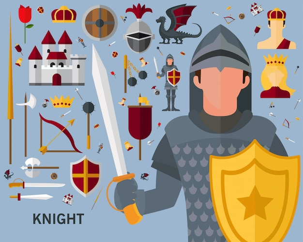 Knight concept background. Premium Vector