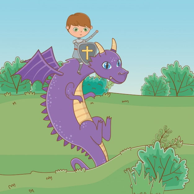 Knight and dragon of fairytale Free Vector