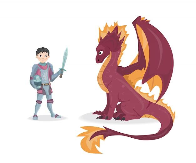 Knight and dragon vector illustration Premium Vector