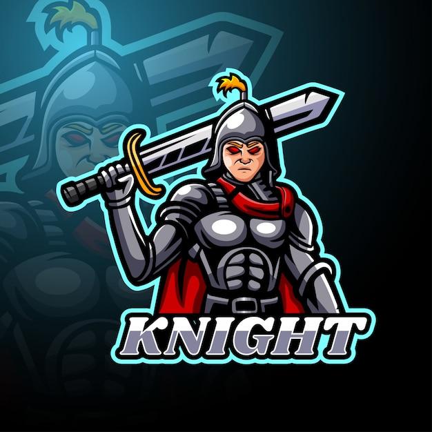Knight eスポーツロゴマスコット Premiumベクター